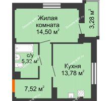 1 комнатная квартира 42,1 м² в Жилой район Берендей, дом № 14 - планировка