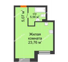 Студия 34,39 м² в ЖК Первая Линия. Гавань, дом № 2.3 - планировка