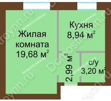 1 комнатная квартира 34,81 м² - ЖК Любимый