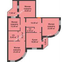 4 комнатная квартира 130,4 м², ЖК по ул. Циолковского - планировка