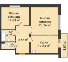 2 комнатная квартира 64 м² в ЖК Бограда 109, дом № 2 - планировка