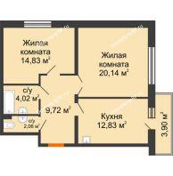 2 комнатная квартира 66,34 м² в ЖК Бограда, дом № 2 - планировка
