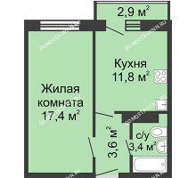 1 комнатная квартира 36,07 м² в ЖК Бурнаковский, дом № 29 - планировка