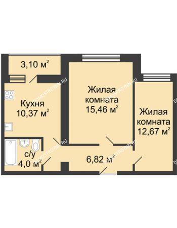 2 комнатная квартира 50,87 м² в ЖК Удачный, дом № 3