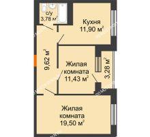 2 комнатная квартира 62,1 м², ЖД Весна - планировка