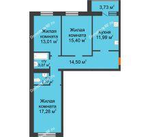 3 комнатная квартира 81,05 м² в ЖК Новая Самара, дом № 46 - планировка