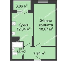 1 комнатная квартира 45,64 м² в ЖК Красная поляна, дом № 6