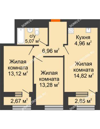 2 комнатная квартира 60,98 м² в ЖК Дом на Набережной, дом № 1