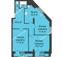 3 комнатная квартира 76,6 м², Жилой дом: ул. Сазанова, д. 15 - планировка