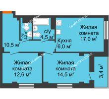 3 комнатная квартира 63 м² в ЖК Тихая Гавань на Якорной, дом № 1