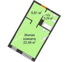 Студия 33,56 м² в ЖК DOK (ДОК), дом ГП-1.2 - планировка