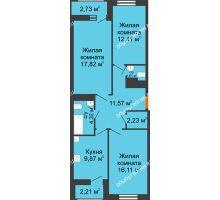 3 комнатная квартира 75,94 м² в ЖК Москва Град, дом 60/1 - планировка