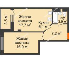 2 комнатная квартира 46,7 м² в ЖК Тихая Гавань на Якорной, дом № 1