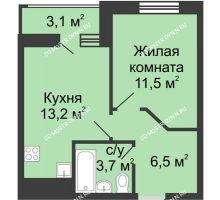 1 комнатная квартира 36,45 м² в ЖК Цветы, дом № 10 - планировка