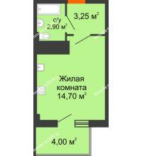 Студия 21,85 м² в ЖК Грин Парк, дом Литер 2 - планировка