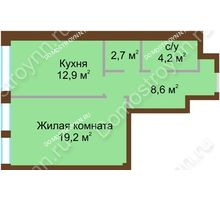 1 комнатная квартира 48 м², Жилой дом: ул. Почаинская д. 33 - планировка