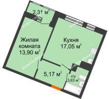 1 комнатная квартира 42,06 м² в ЖК Книги, дом № 2 - планировка