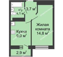 1 комнатная квартира 31,6 м² в ЖК ЮГ, дом № 20