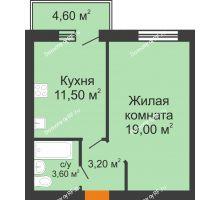 1 комнатная квартира 37,3 м² в ЖК На Мельникайте, дом № 144 - планировка