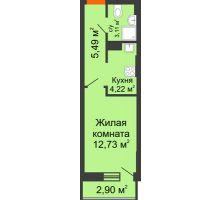 Студия 28,36 м², ЖК Штахановского - планировка