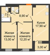 2 комнатная квартира 58,9 м² в ЖК Заречье, дом № 6 - планировка
