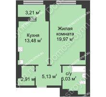 1 комнатная квартира 49,13 м² в ЖК Караваиха, дом № 5 - планировка