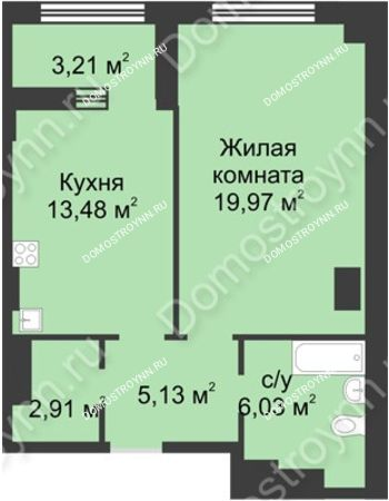 1 комнатная квартира 49,13 м² в ЖК Караваиха, дом № 5