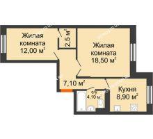 2 комнатная квартира 53,5 м² в ЖК Жюль Верн, дом № 1 корпус 1 - планировка