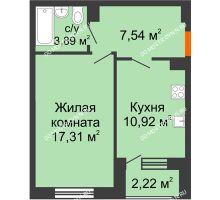 1 комнатная квартира 40,77 м² - Дом на Чаадаева