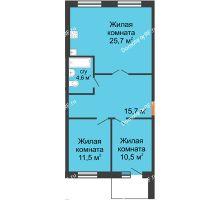 3 комнатная квартира 68 м² в ЖК Малоэтажный квартал, дом ГП-57 - планировка