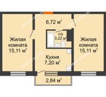2 комнатная квартира 48,21 м² в ЖК Бурнаковский, дом № 48 - планировка