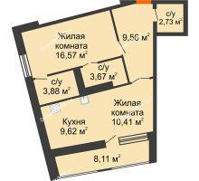 1 комнатная квартира 60,49 м², ЖК Русский Авангард - планировка