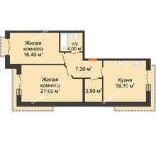 2 комнатная квартира 71,5 м², Жилой дом: г. Дзержинск, ул. Кирова, д.12 - планировка
