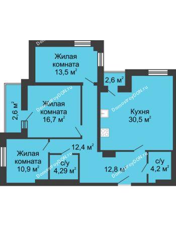 3 комнатная квартира 107,9 м² - ЖК Вдохновение