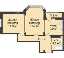 2 комнатная квартира 60,4 м² в ЖК Цветы, дом № 15 - планировка