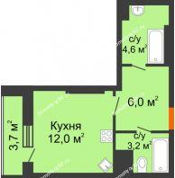 Студия 29,5 м², ЖК Космолет - планировка