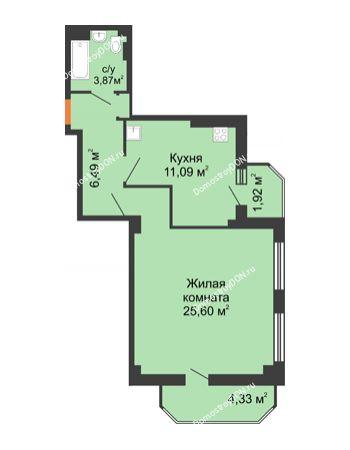 1 комнатная квартира 53,66 м² - ЖК Гармония