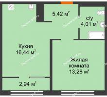 1 комнатная квартира 40,62 м² в ЖК Акватория, дом ГП-1 - планировка