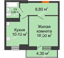 1 комнатная квартира 40,3 м² в ЖК Восточный парк, дом Литер 3 - планировка