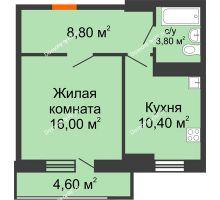 1 комнатная квартира 40,4 м² в ЖК Восточный парк, дом Литер 3 - планировка