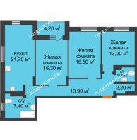 3 комнатная квартира 98,4 м² в ЖК Подкова на Цветочной, дом № 9 - планировка