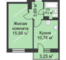 1 комнатная квартира 35,02 м² в ЖК Загородный мкрн Акварель  микрогород Стрижи, дом №7к2 - планировка