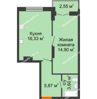 1 комнатная квартира 43,25 м² в ЖК Рассвет, дом № 11 - планировка