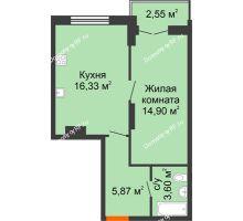 1 комнатная квартира 43,25 м² в ЖК Рассвет, дом № 10 - планировка