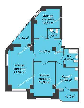 3 комнатная квартира 88,61 м² в ЖК Мега, дом № 1