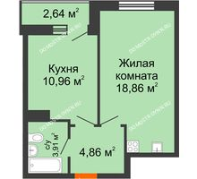 1 комнатная квартира 41,23 м² - ЖК Комарово