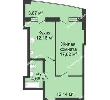 1 комнатная квартира 54,12 м² в ЖК Тихий Дон, дом № 3 - планировка