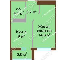 1 комнатная квартира 32,85 м² в ЖК ЮГ, дом № 15