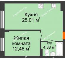 1 комнатная квартира 41,85 м², ЖК Шаляпин - планировка