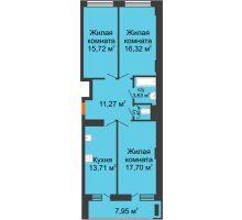 3 комнатная квартира 83,78 м² в ЖК Встреча, дом № 1 - планировка